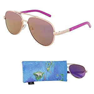 REVO Sunglasses for Teens – Stylish Purple Mirrored Lenses for Teenagers - Reduces Glare, 100% UV Protection - Gold Frame, Rose Red Tips - Pouch Included - Ages 12 to 18 - By Optix 55