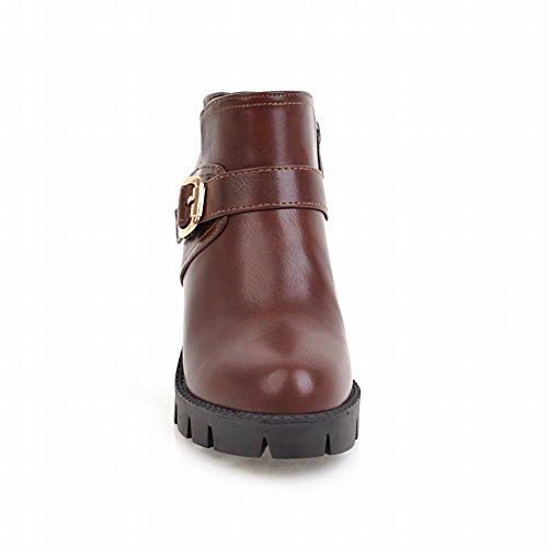 Mee Shoes Damen Blockabsatz runde ankle Boots Braun