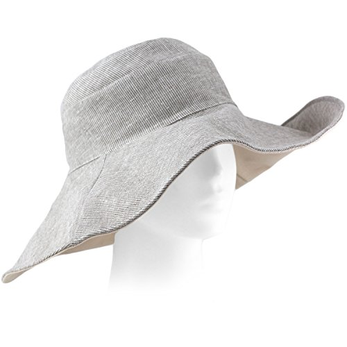 Packable Summer Beach Sun Hat - Flexible Wide Wire Brim - Grey & - Panama City Stores Clothing Beach