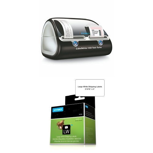 DYMO Label Writer 450 Twin Turbo label printer, 71 Labels Per Minute, Black/Silver (1752266) and DYMO LW Standard Shipping Labels for LabelWriter Label Printers, White, 2-5/16'' x 4'', 1 roll of 300 (30256) Bundle (Software Office Dymo File)