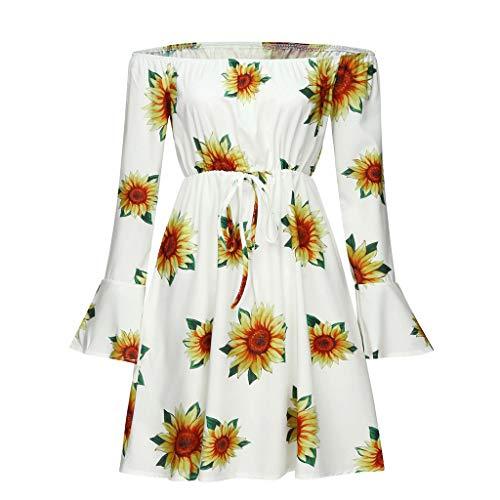 Women Off Shoulder Loose Dolman Shirt Ruffle Dress Flroal Print Pleated Party Mini Dress with Belt JHKUNO Yellow ()
