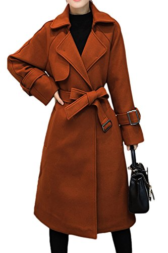 Mupoduvos Women Winter Solid Lapel Loose Open Front Belted Tweed Coat Outerwear Brown XXL Belted Tweed Coat