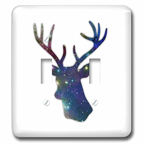 3dRose lsp_179698_2 Deer Stag Head Silhouette of Dark Blue Outer Space Stars Galaxy Double Toggle Switch (Hunter Clock Blue Wall Rose)