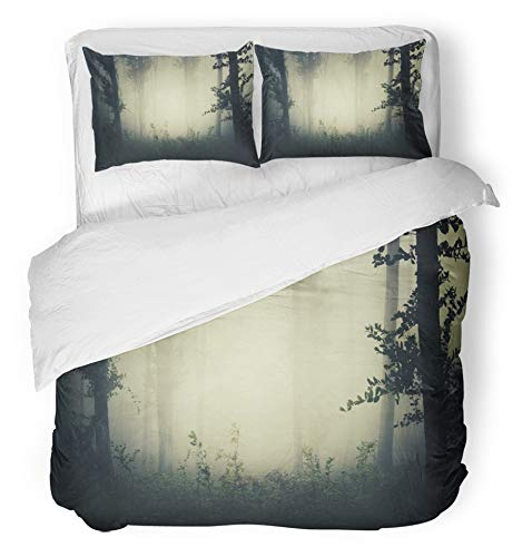 Emvency 3 Piece Duvet Cover Set Breathable Brushed Microfiber Fabric Fantasy Misty Forest Landscape Dark Woods Spooky Surreal Atmosphere Halloween Bedding with 2 Pillow Covers Full/Queen Size