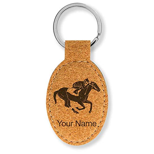 Oval Keychain, Horse Racing, Personalized Engraving Included (Cork)