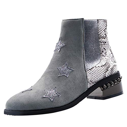 (JJHAEVDY Womens Star Snake Stitch Low Heel Ankle Bootie Autumn Fashion Pointed Side Zipper Leather Boots Shoes)
