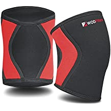 WODFitters Compression Knee Sleeves Pair - 5 mm Neoprene Athletic Knee Brace Patella Support for Weight and Powerlifting, Arthritis, ACL, Meniscus Tear, Joint Pain Relief, Fit Recovery, Running Sports
