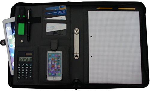 Schreibmappe K.DESIGNS A4 schwarz - Die Mappe ist aus hochwertigem imitiertem Leder - Ihr idealer Organizer mit Reissverschluss und Ringbuch zum Aufbewahren von Dokumenten - Perfekt als Konferenzmappe