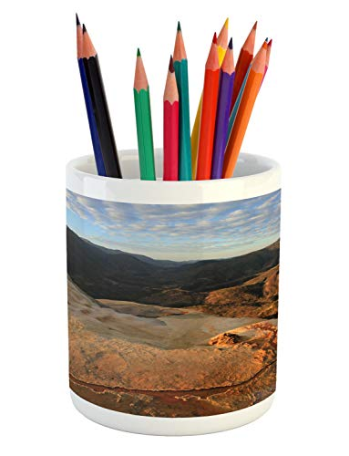Lunarable Oaxaca Pencil Pen Holder, Hierve El Agua Mexico Petrified Waterfalls Scenery Wild Nature Panoramic Photo, Printed Ceramic Pencil Pen Holder for Desk Office Accessory, Multicolor (El Patio Original)