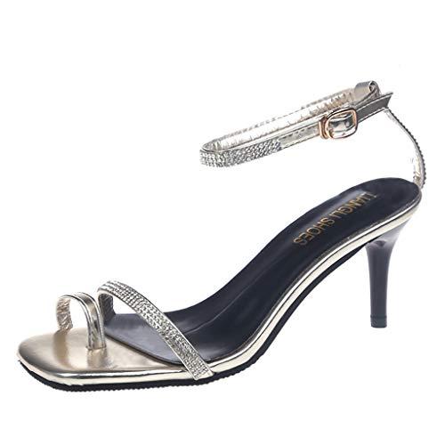 (MmNote Shoes, Women's Open Toe Pump Heel Belt Buckle Dress Noble Elegant Hundreds Sandals Shoes Gold)