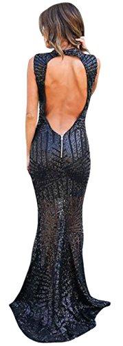 La Vogue Robe Maxi Queue Sirène Dos Nu Moulant Col Haut Paillette Noir