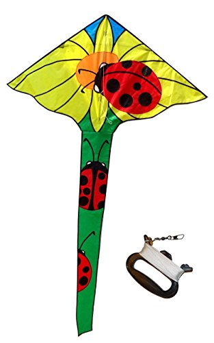 Ladybug Sunflower Large Delta Kite with String, Handle, Carrying Bag, Kids Toy Kite