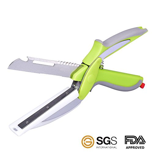 6 IN 1 Clever Cutter Vegetable Knife Cutting Bread Slicer Food Meat Cutter Fruit Scissors Kitchen Chops Food In Seconds