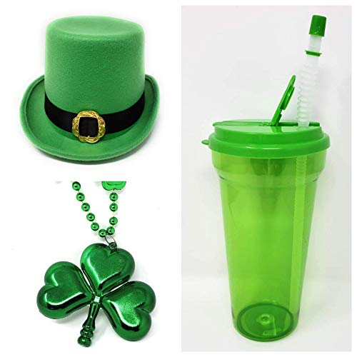 St. Patrick's Day Costume For Men Party Irish (1) St. Patrick's Day Green Felt Leprechaun Top Hat (1) Large Shamrock Pendant Bead Necklace (1) Green Drinking Cup AND BONUS (1) -