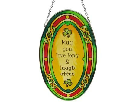 Royal Tara 16cm Stained Glass Hanging Decoration with May you live. Design (Baubles Hanging Glass)