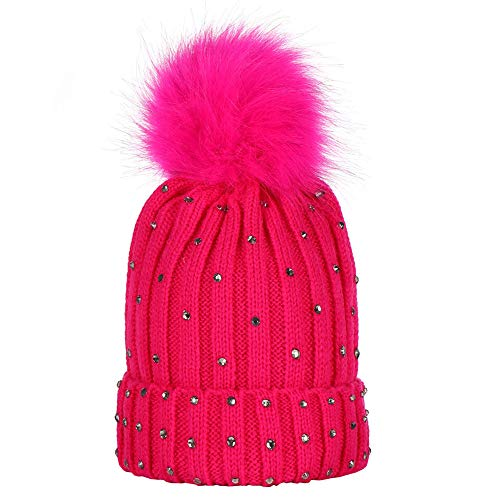 TWGONE Children Knit Cap Baby Rhinestone Keep Warm Winter Fur Ball Knitted Wool Hemming Hat(One Size,Hot Pink)