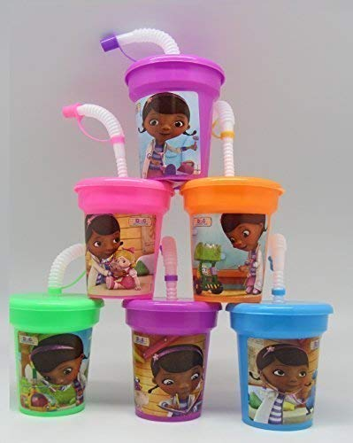 6 Disney Doc McStuffins Stickers Birthday Sipper Cups with lids Party Favor Cups]()