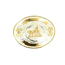 Crumrine Western Belt Buckle Cutting Horse Oval Silver Gold C1036204