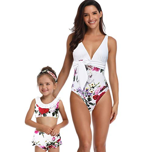 - Ababalaya Mommy and Me Matching Family Swimsuits Mother and Daughter Bikini Bathing Suit Beachwear Sets, White one Piece Print, Mum, X-Large