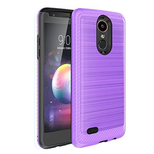 LG Aristo 2/Zone 4/Aristo 3/Aristo 3 plus/Tribute Empire/Tribute Dynasty/Aristo 2 Plus/K8+/K8 2018/Fortune 2 Case,Tempered Glass Screen Protector,Hybrid Dual Layer Case for LG Phoenix 4/Rebel 4-Purple