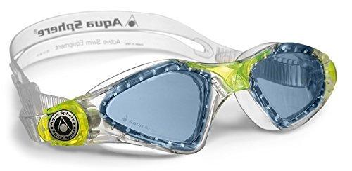 Aqua Sphere Kid's Kayenne Junior Swimming Goggle - Blue Lens - Transparent/Lime by Aqua Sphere
