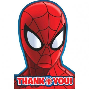 8 Count Spider-Man Postcard Thank You Notes, Multicolored