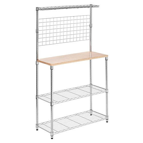 Étagère Bakers Rack, Sturdy Steel Frame, Solid Maple Countertop 2 Thick Grid-Style and Adjustable Wire Shelves, Top Rail for Spices, Open Wire Design, Chrome Finish