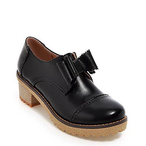AgooLar Damen Rund Zehe Mittler Absatz Weiches Material Rein Ziehen auf Pumps Schuhe Schwarz