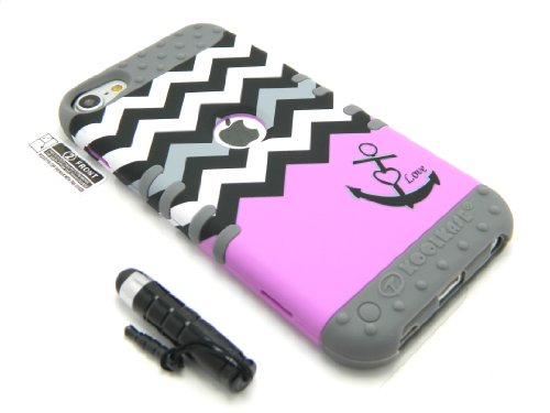 New 3-piece Impact Hybrid Combo Hard Case Cover For iPod Touch 5th Generation Chevron Stripes Soft Skin With Screen Guard and Stylus Pen (Purple Anchor/Gray)