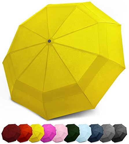 EEZ-Y Compact Travel Umbrella w/ Windproof Double Canopy Construction - Auto Open Close (Yellow)