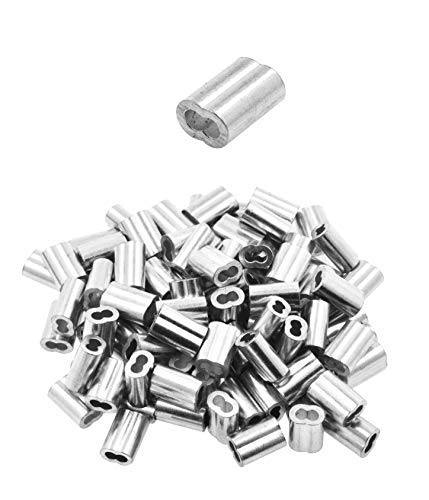 Mandala Crafts Aluminum Crimp Loop Sleeves, Gritted Oval Compression Ferrules for Hanging and Securing Wire, Cable