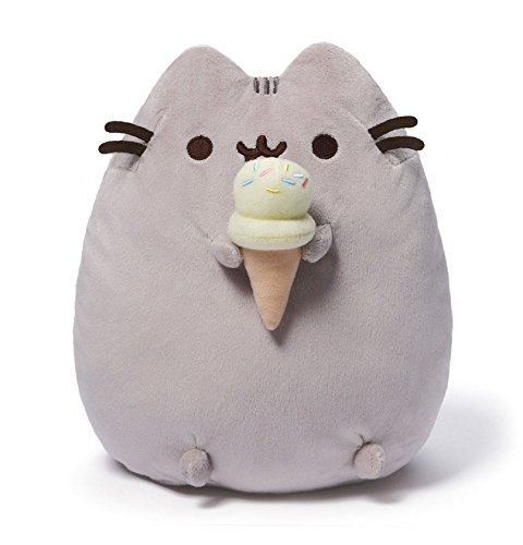 GUND Pusheen Snackables Ice Cream Cone Cat Plush Stuffed Animal, Gray, 9.5