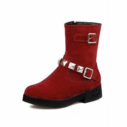 Schouder Dames Gerits Multi Gesp Geregen Mode Comfort Lage Hak Korte Laarzen Rood