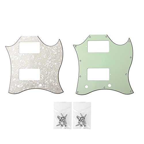 Guitar Full Face Pickguard For Gibson SG Standard Parts 3 Ply Pale Yellow Pearl and Mint Green Pack of 2 (Green Sg Gibson)