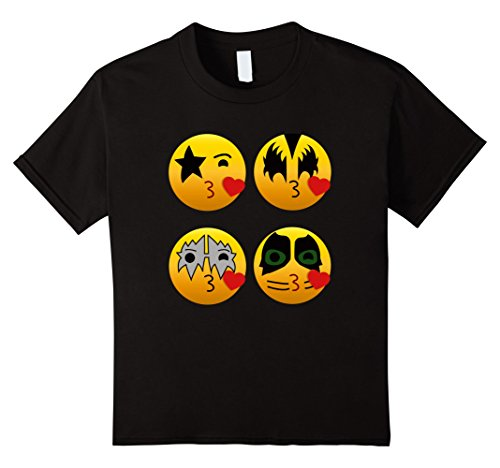 Unisex Child's 100% Cotton Kiss Rock Group Emoji T Shirt