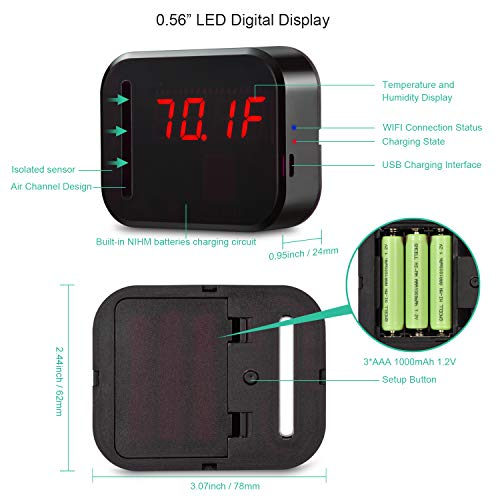 WiFi Temperature Humidity monitor, LED Digital Thermometer Hygrometer monitor, indoor/outdoor Temperature Humidity sensor with Alerts. Free iPhone/Android Apps, web browser monitor 24/7 from Anywhere by Ismart56 (Image #1)