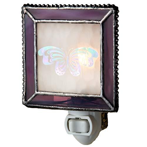 J Devlin NTL 125-2 Purple Butterfly Night Lite Decorative Stained Glass Night Light