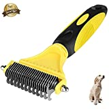 CU QUAN Pet Grooming Tool, 2 Sided Undercoat Rake, Easy Mats & Tangles Removing, Safe Dematting Comb Perfect for Dogs & Cats (Yellow)