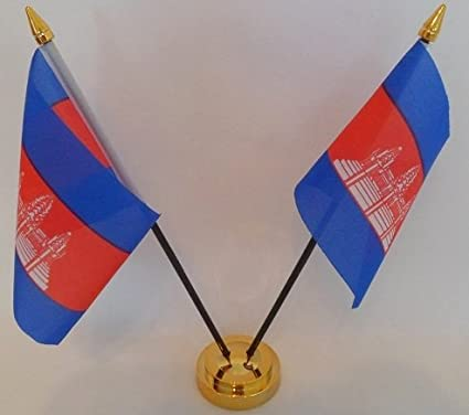 Flag Cambodia Cambodian 2 Desktop Table Display with Gold Base