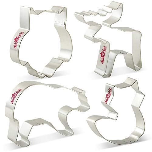 KENIAO Mountain Wildlife Cookie Cutters Set for Kids - 4 Piece - Grizzly Bear, Moose, Owl and Fox Cutter - Stainless Steel