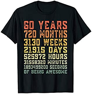 60 Years Old 60th Birthday Vintage Retro T-shirt | Size S - 5XL