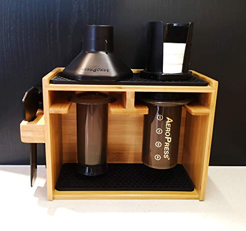 Hexnub Organizer for Aeropress Coffee Maker Premium Bamboo Stand Caddy Station Holds Aeropress Coffee Maker Filters Cups Accessories with Silicone Dripper Mat