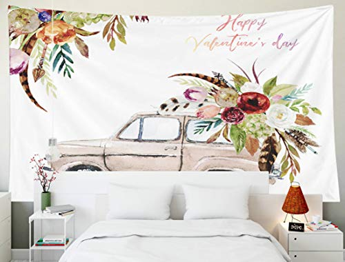 KIOAO Tapestry Wall Hanging, 80x60 Inches Watercolor Day Brown Car amp Flower Floral Bouquet Corner Frame Border Composition Boho Feather Large Map Dorm Home Bedroom Living Room Art Wall Tapestries