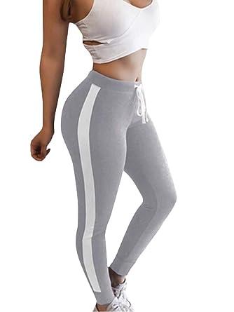 ShallGood Femme Pantalon Rayures Taille Haute Printemps Été Coton  Décontractée Casual Sport Slim Chic Mode Trousers 7916bf6b679