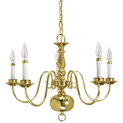 Crown Lighting 4615SB Traditional 5-light Williamsburg Style Polished Brass (Crown Five Light Chandelier)