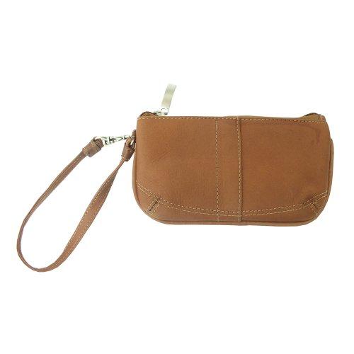 Piel Leather Ladies Wristlet, Saddle, One Size