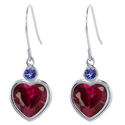 4.62 Ct Heart Shape Red Created Ruby Blue Tanzanite 925 Sterling Silver Earrings