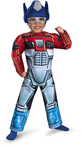Optimus Prime Rescue Bot Toddler Muscle Costume, Red/Blue, Toddler Large - Optimus Prime Costumes