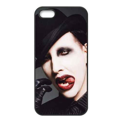 Marilyn Manson 004 coque iPhone 5 5S cellulaire cas coque de téléphone cas téléphone cellulaire noir couvercle EOKXLLNCD25790