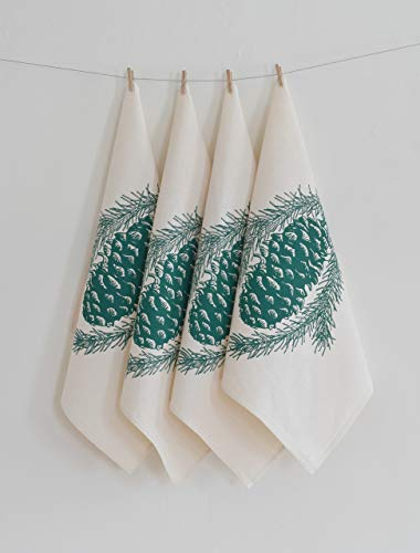 (Set of 4 Cloth Napkins - Organic Cotton - Pine Cone Design in Dark Green)
